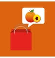 red package juicy peach fruit vector image vector image