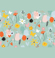 seamless pattern with flowers branches leaves vector image