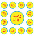 set of 13 editable animal icons line style vector image