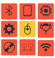 set of 9 computer hardware icons includes chip vector image