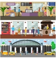 set of airport and passengers concept vector image vector image