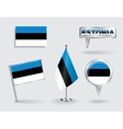 Set of Estonian pin icon and map pointer flags vector image