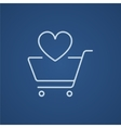 Shopping cart with heart line icon vector image vector image