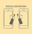 social distancing there are two hands from vector image