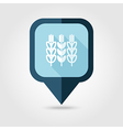 Spikelets of wheat flat pin map icon Map pointer vector image vector image