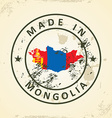 Stamp with map flag of Mongolia vector image vector image