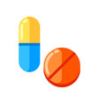 tablet and capsule icon in flat style vector image vector image
