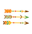Three decorated bow arrows native indian culture vector image