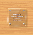 transparent glass plate mock up yellow wooden vector image vector image