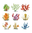 Underwater plants in cartoon style vector image