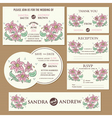 wedding cards set with hand drawn flowers vector image vector image