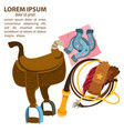 wild west wagon horse lasso and horseshoes vector image vector image