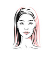 woman portrait sketch vector image vector image
