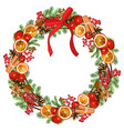 wreath with traditional symbols new year and vector image
