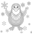 Zentangle stylized Penguin the cheerful bird vector image vector image