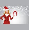 christmas woman holding present vector image