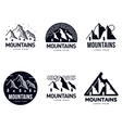 Set of mountains and outdoor adventures logo vector image