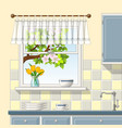 a kitchen window vector image vector image