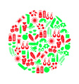 allergy and allergens red and green icons set vector image vector image