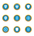ancient shield icons set flat style vector image vector image