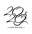 black and white symbols 2020 happy new year vector image vector image