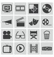 black cinema icons set vector image vector image