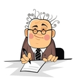 business man with pan on the desk vector image vector image