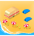 camping at seashore vector image