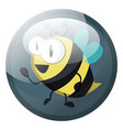 cartoon character of a bee in grey blue circle on vector image vector image