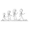 cartoon walking family on trip man vector image