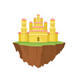 cartoon yellow island castle on white background vector image vector image