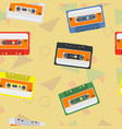 cassettes background vector image vector image