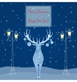 Christmas deer near street light Merry Christmas vector image vector image