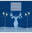 christmas deer near street light merry vector image