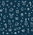 christmas doodle things seamless cute pattern vector image