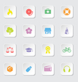colorful web icon set 6 on white rounded rectangle vector image vector image