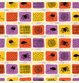 creepy halloween spider cartoon pattern yellow vector image