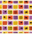 creepy halloween spider cartoon pattern yellow vector image vector image