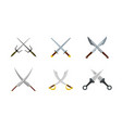cross sword icon set flat style vector image vector image