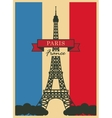 eiffel tower against french flag vector image vector image