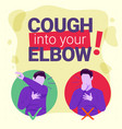 elbow cough flat design infographic virus vector image