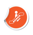 escalator down sign orange sticker vector image