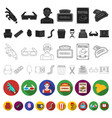 films and cinema flat icons in set collection for vector image vector image