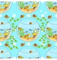 fishbowl pattern with fish snail and decorations vector image vector image