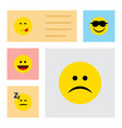 flat icon face set of sad asleep happy and other vector image vector image