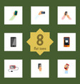 flat icon smartphone set of chatting interactive vector image vector image