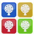 four square color icons tree with branches vector image