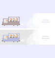 funny bus web banner or booklet vector image