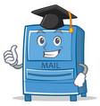 graduation mailbox character cartoon style vector image vector image