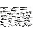 graphic black silhouette weapon and firearm icons vector image vector image